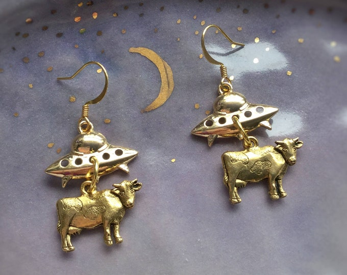 Gold UFO Cow abduction earrings, Alien spaceship earrings, sold per pair (leave qty as 1)