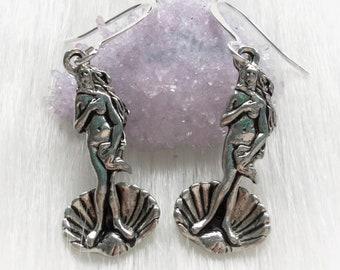 Aphrodite Birth of Venus Goddess Earrings, Mermaid Seashell, in silver or gold