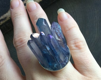 Tanzine Aura Crystal Ring, Multiple points, Druzy cluster