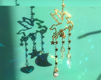 Pegasus Crystal Sun catcher, Small Crystal Moon Star and Heart, Home or Car
