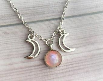 SALE Sunset Rainbow Moonstone Triple goddess necklace