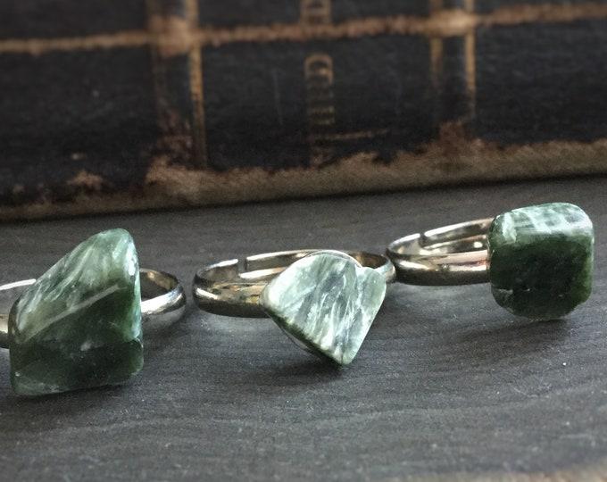 Seraphinite gemstone, adjustable small stone ring
