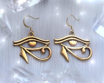 Gold Eye of Horus, Egyptian earrings Eye of Ra