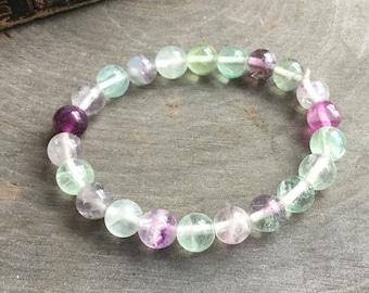 "Rainbow Fluorite stretch beaded bracelet 7"""