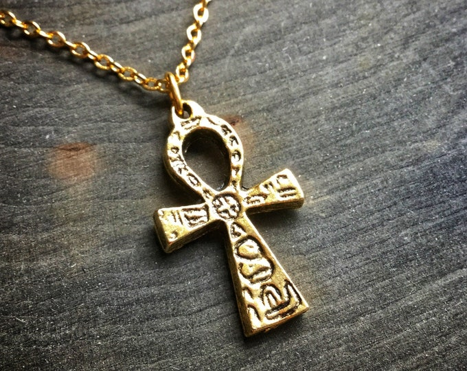 Gold Ankh necklace, Egyptian symbol on long or short chain