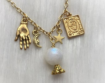 Moonstone Crystal Ball necklace with Palmistry charms, moon and stars