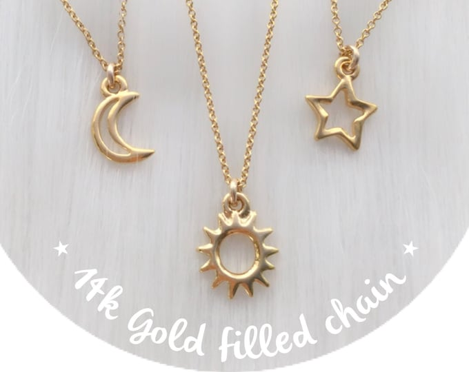 14k Gold Filled Friendship necklaces, Sun, Moon, Star or Heart pendants, best friends, set of two, three or four