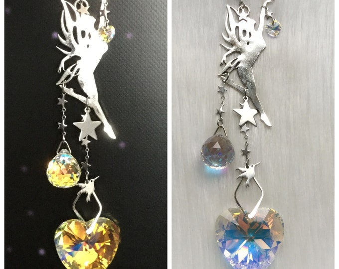 Dancing Fairy Suncatcher with Heart and Prism crystals