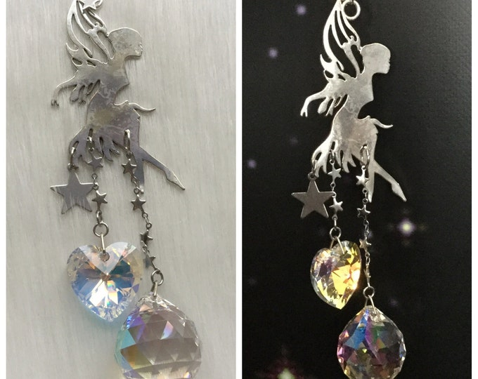 Fairy Suncatcher with Heart and Prism crystals, Window hanging rainbow maker