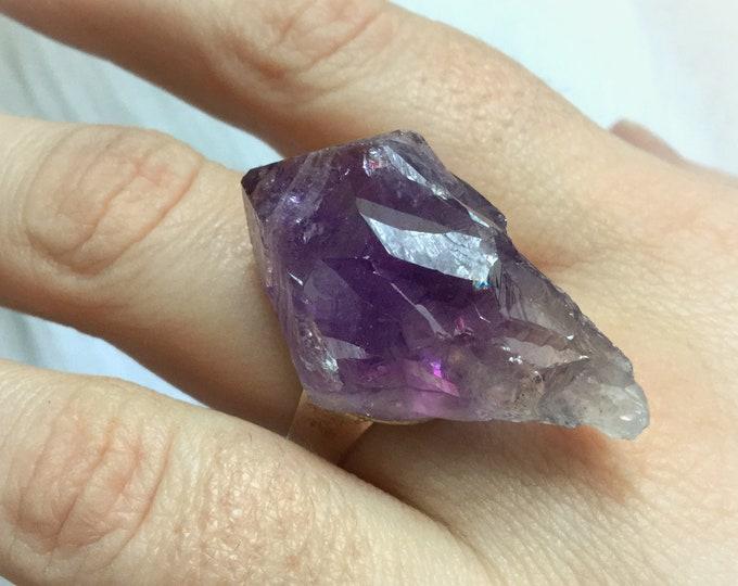 Amethyst raw crystal Ring, Adjustable gemstone ring