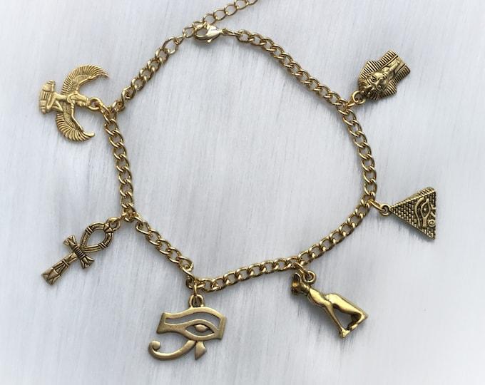 Egyptian Charm Bracelet, Eye of Ra, Winged Goddess Pyramid, Bastet