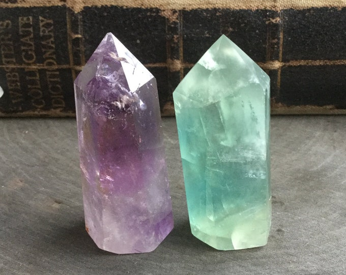 "Ametrine Amethyst and Blue Green Fluorite crystal points, 2"" Gemstone SET OF TWO, obelisk, tower, altar, reiki wiccan"