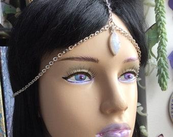 Rainbow Moonstone Head Chain Circlet, Third Eye, Monarch Opal, Meditation Reiki Chakra tool,