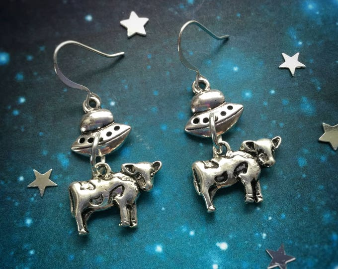 UFO Alien Cow abduction earrings, silver spaceship earrings, sold per pair (leave qty as 1)