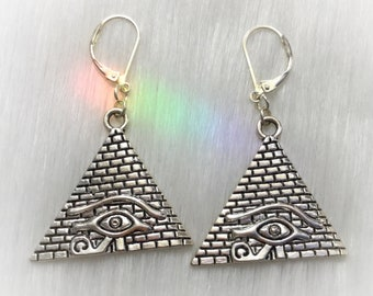 Egyptian Pyramid Earrings with Eye of Horus Eye of Ra, 30mm tall (leave qty as 1 to receive one pair)