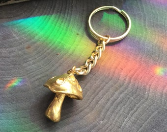 Mushroom Keychain, Heavyweight 3D Silver or Gold tone, Gift idea