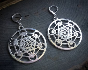 Metatrons cube Earrings, Sacred Geometry, The Flower of Life, sold per pair