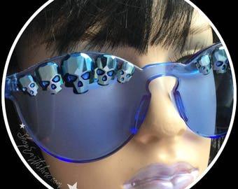 Blue Crystal Skull Eyewear, Sunglasses, with Swarovski® Metallic Rhinestone Crystal skulls