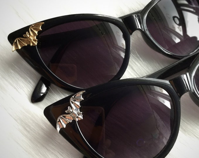 Bat Sunglasses, Witchy Halloween embellished cat eye sunglasses with zipper case and cloth pouch