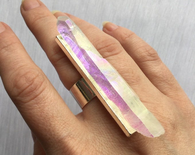 Lemurian Crystal Ring, Angel Aura Quartz, opal aura, large adjustable ring