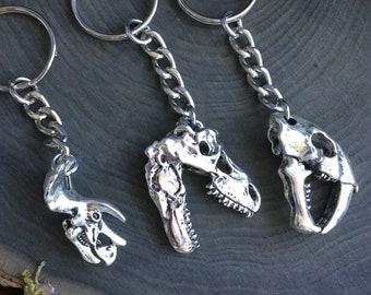 Dinosaur Skull keychain, T-Rex, Triceratops, Sabre Tooth
