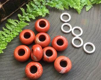 Red Jasper Dread beads, dread bead set * FOR SMALL LOCS * 5-6mm hole