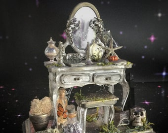 Victorian Witches table, Miniature Curiosities Altar, Mini Dressing Table, Halloween Dollhouse Diorama