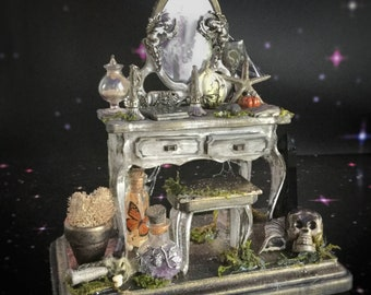 Victorian Witch Vanity table, Miniature Curiosities Altar, Mini Dressing Table, Halloween Dollhouse Diorama
