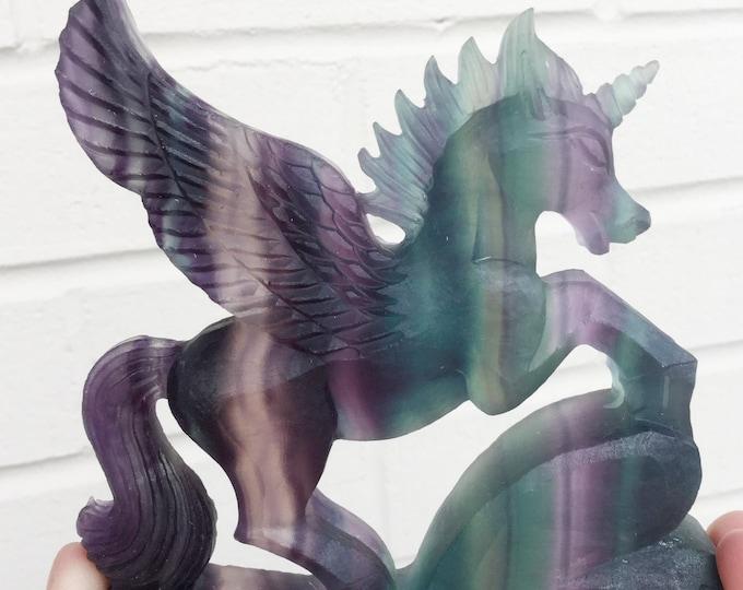 SALE Crystal Unicorn Pegasus, Carved Fluorite Gemstone