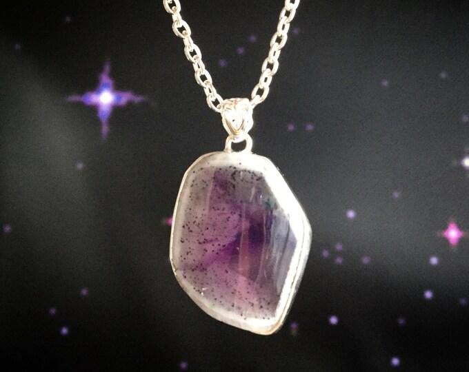 Apex Amethyst slice, gemstone necklace, Quartz window with Iron inclusions
