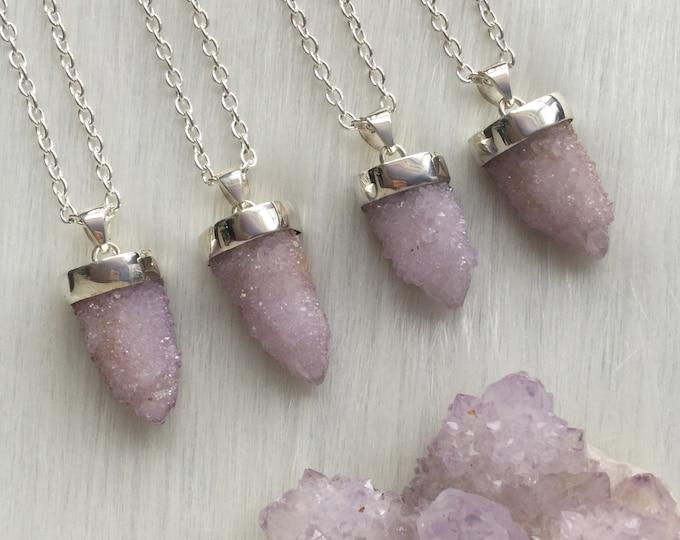 Spirit Quartz Necklace, Cactus Quartz, Sterling silver setting, on your choice of chain