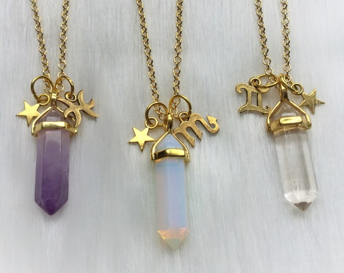 Zodiac Crystal Birthstone Necklace, your choice of Crystal with your Astrology sign