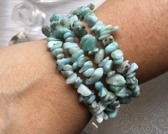Larimar gemstone, chip bead stretch bracelet
