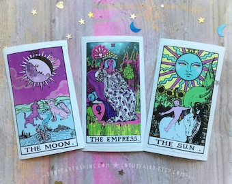 Vinyl Tarot Stickers Set of 3, The Moon, The Sun, The Empress NEW material
