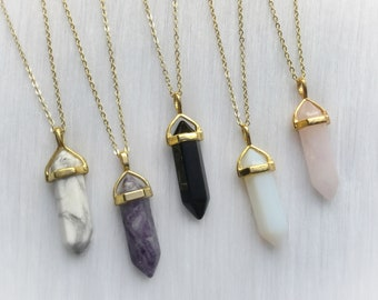 Gold Crystal Necklace, Your choice of gemstone Point pendant, choker necklace, Opalite, Amethyst, Rose Quartz, Obsidian, Clear quartz