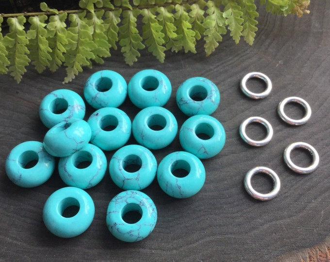 Faux Turquoise dread beads, 6mm hole, dread bead set * FOR SMALL LOCS *