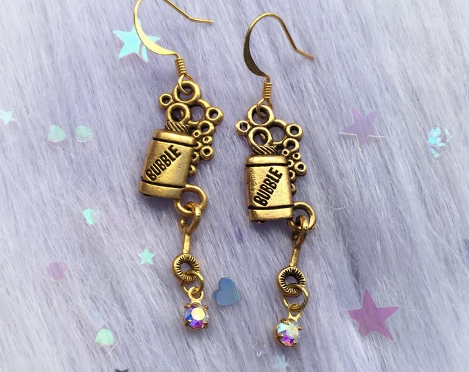 Fun Dangly Bubble bottle Earrings, made with Swarovski Crystal elements (leave QTY as 1 to receive one pair)