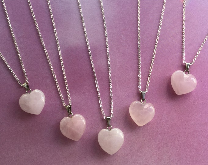 "Rose Quartz Heart necklace, on 18"" dainty chain"