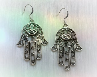 Hamsa Hand earrings, your choice of silver or gold, sold per pair (leave qty as 1)