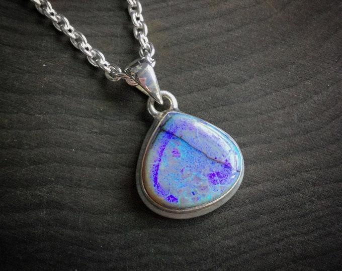 Monarch Opal Teardrop Necklace, long or short sterling filled chain