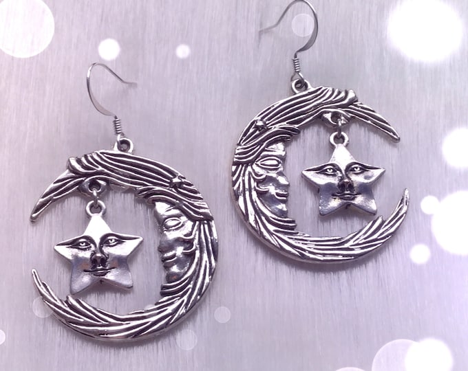 Moon and Star face earrings, your choice ofear hooks or clip ons