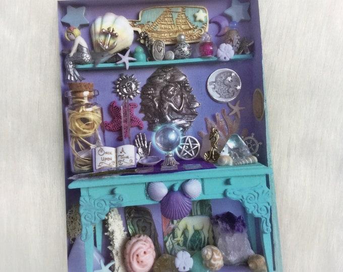 "Water Witch Mermaid Altar, Miniature Curio Cabinet 5x7"" ART PRINT"