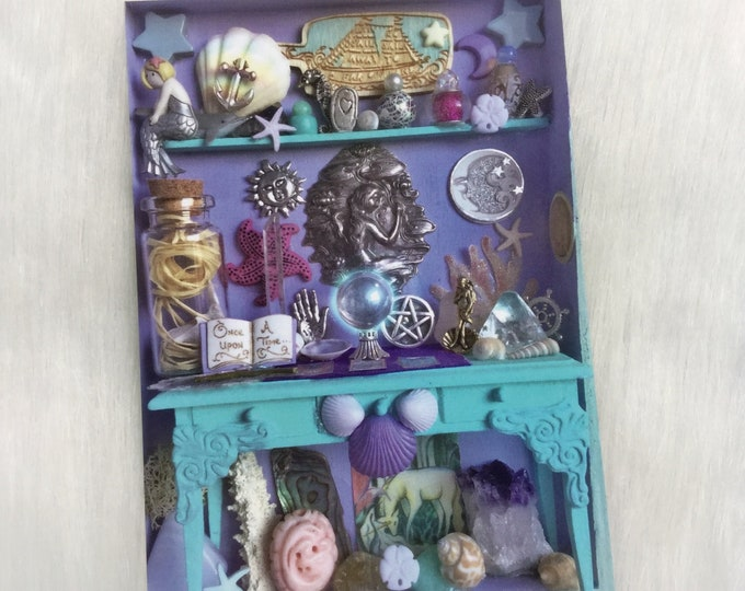 "Mermaid Altar, Miniature Curio Cabinet 5x7"" ART PRINT"