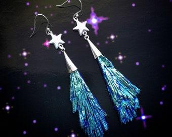 Shooting Star Gemstone earrings, Sterling Silver Rainbow Titanium Kyanite Gemstone, Blue Peacock Ore color