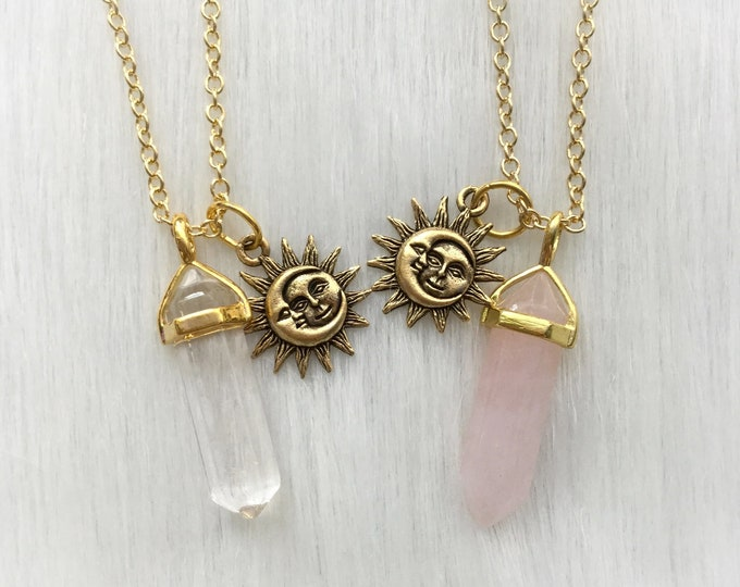 GOLD Sun Moon Friendship Crystal necklaces, YOUR CHOICE of gemstone, best friends necklace set