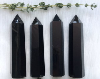 "Obsidian Crystal point, 3"" Volcanic Glass, Tower obelisk for Altar"
