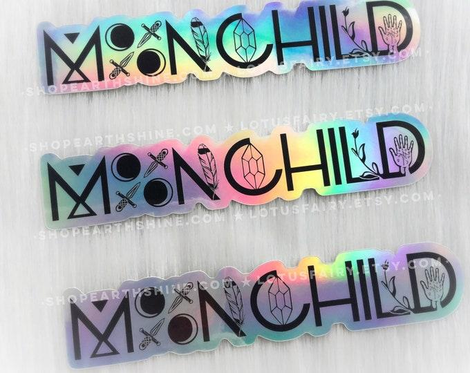 "Holographic MoonChild Sticker 5"", 1 pc Vinyl weatherproof sticker"