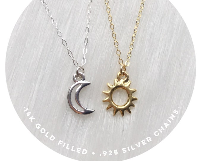Friendship necklaces, Set of Two, your choice of Sun, Moon or Star on dainty sterling and gold filled chains