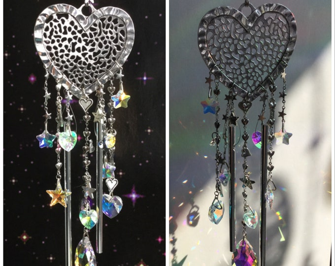 Heart Suncatcher Wind chimes, with Swarovski Heart and Star crystals
