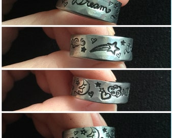 Dream ring, with Moon, hearts and stars, stamped adjustable ring, heavy pewter